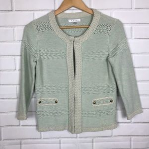 CAbi Size S Society Mint Green Sweater Cardigan